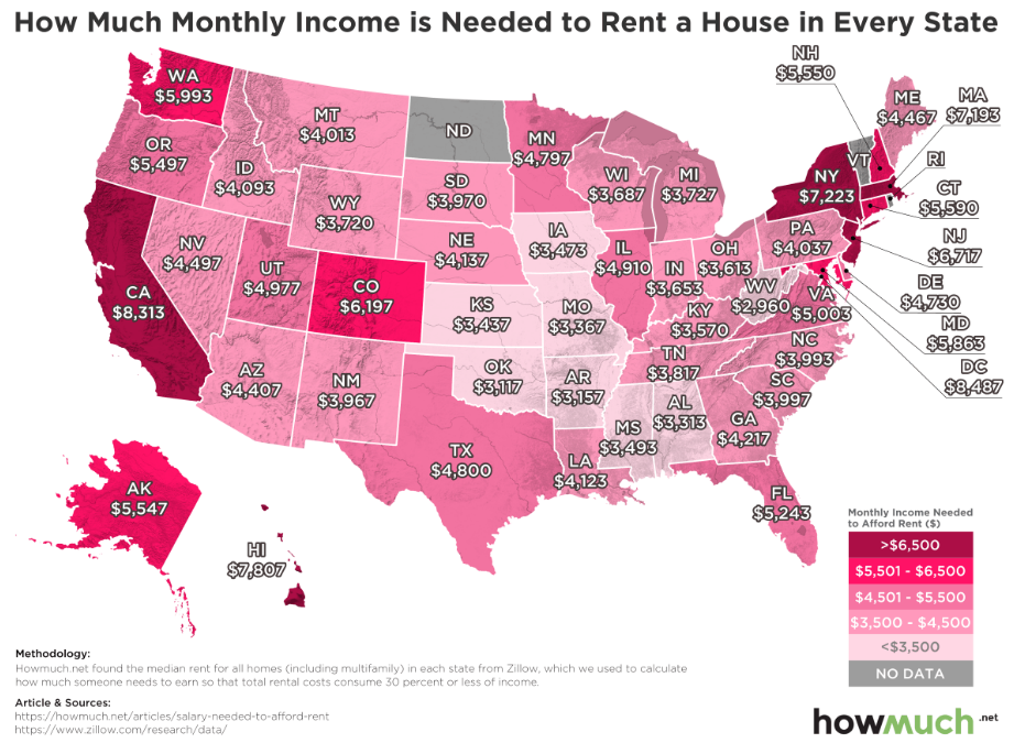 This Map Shows The Income Youd Need To Rent A Home In Every State - Make-a-us-map