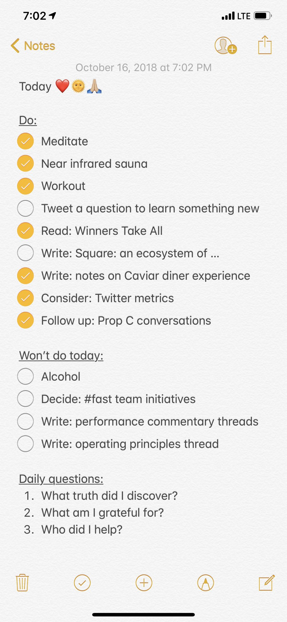twitter ceo jack dorsey writes a 'won't do' list every day