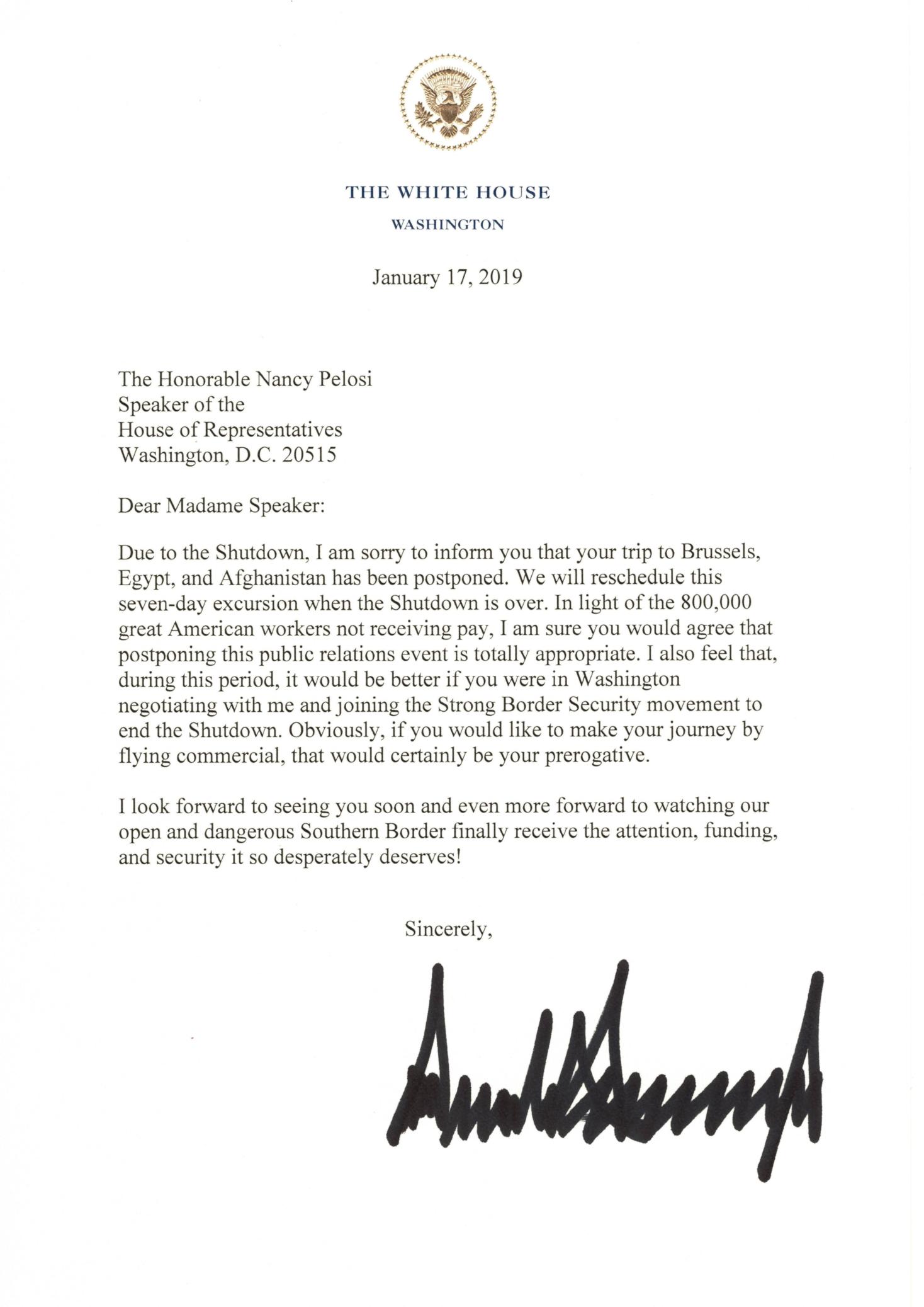 Hasil gambar untuk Letter from President Donald J. Trump to Speaker of the House of Representatives Nancy Pelosi