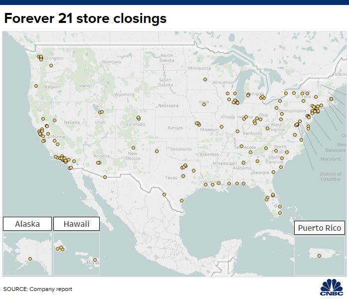 Here\'s a map of the Forever 21 stores set to close
