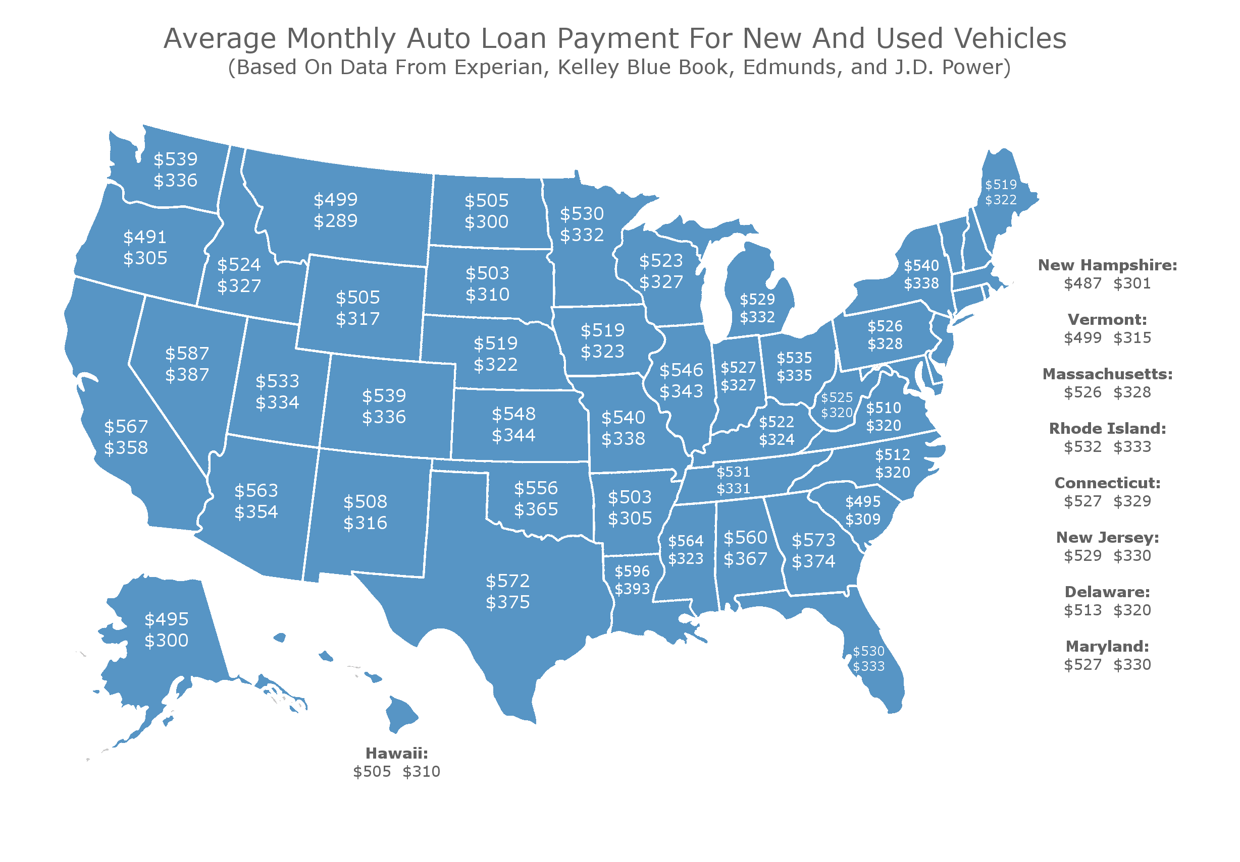 Auto Loan Calculator Edmunds >> Map Shows The Average Monthly Auto Loan Payment In Every State