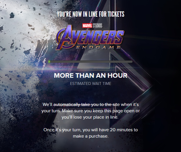 Marvel fans wait in online queue for 'Avengers: Endgame' tickets