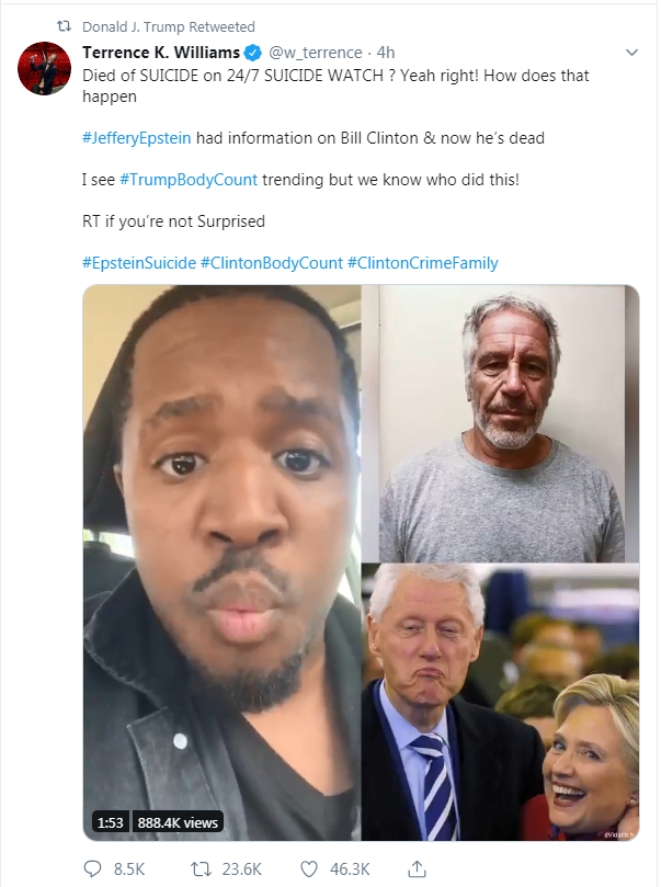 Trump retweets conspiracy theory about Bill Clinton after Jeffrey Epstein's death 1